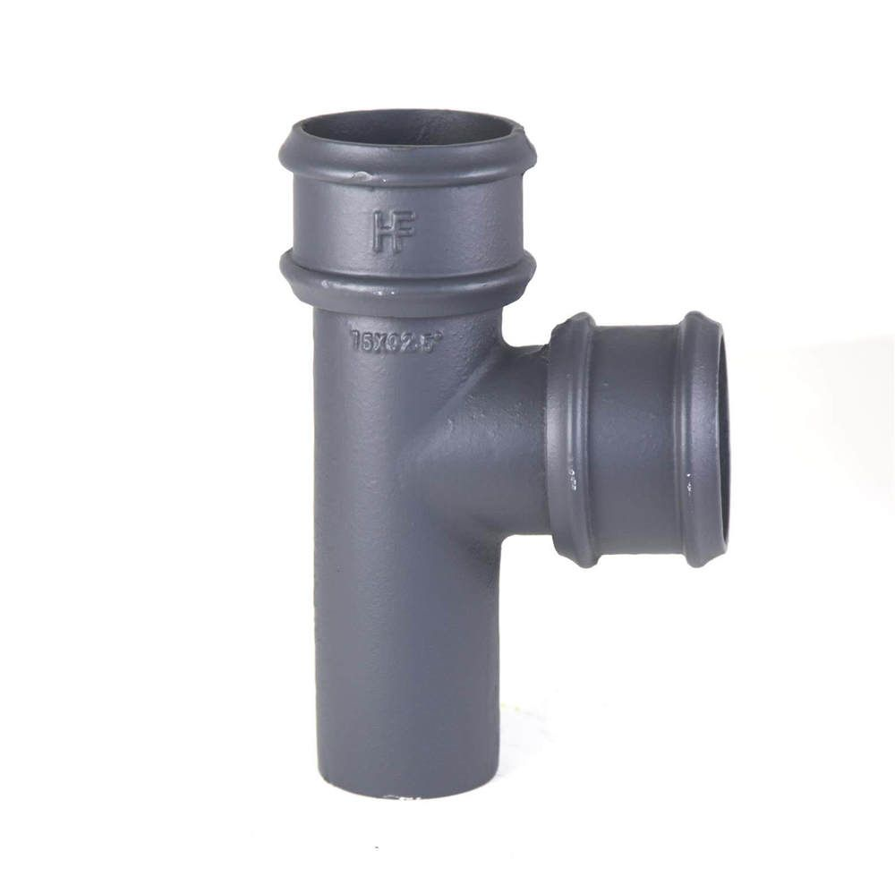 Cast Iron Round Downpipe Branch - 92.5 Degree x 65mm Primed