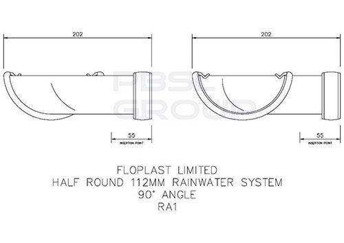 Half Round Gutter Angle - 90 Degree x 112mm Cast Iron Effect