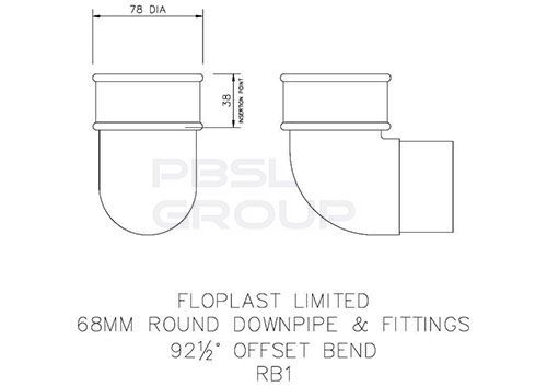 Round Downpipe Bend - 92.5 Degree x 68mm Grey