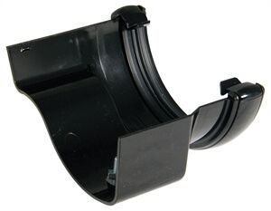 PVC Half Round to Cast Iron Ogee Right Hand Gutter Adaptor - Black