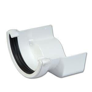 PVC Half Round to Cast Iron Ogee Left Hand Gutter Adaptor - White
