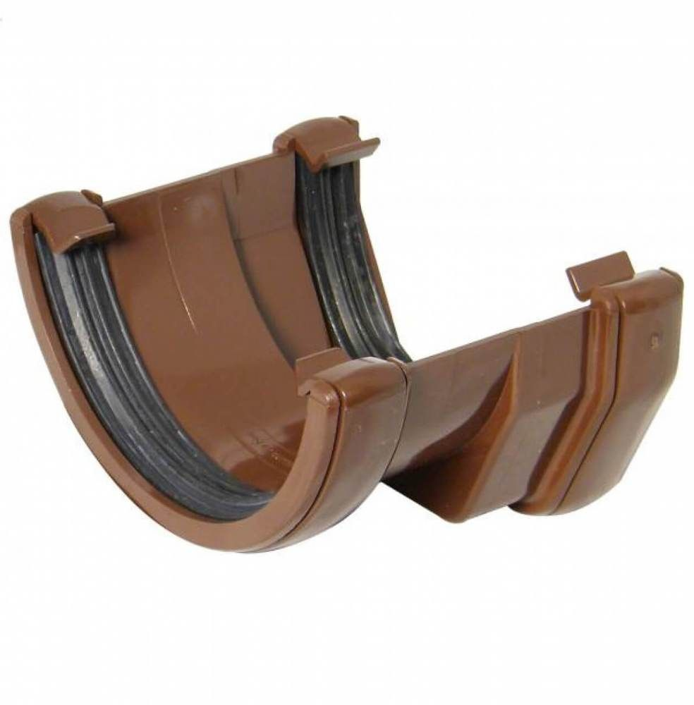 PVC Square to PVC Half Round Gutter Adaptor - Brown