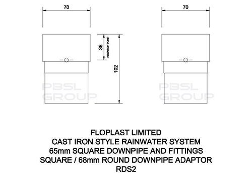 Square to Round Downpipe Adaptor - Cast Iron Effect