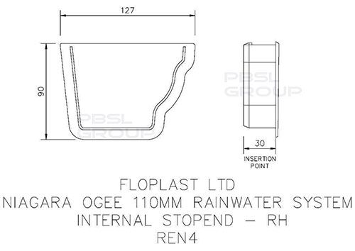 Ogee Gutter Internal Stopend Right Hand - 110mm x 80mm Black