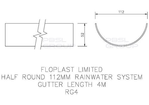 Half Round Gutter - 112mm x 4mtr Brown - OUT OF STOCK