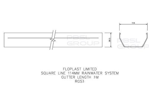 Square Gutter - 114mm x 3mtr White