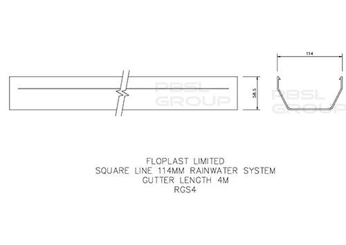 Square Gutter - 114mm x 4mtr Brown - OUT OF STOCK