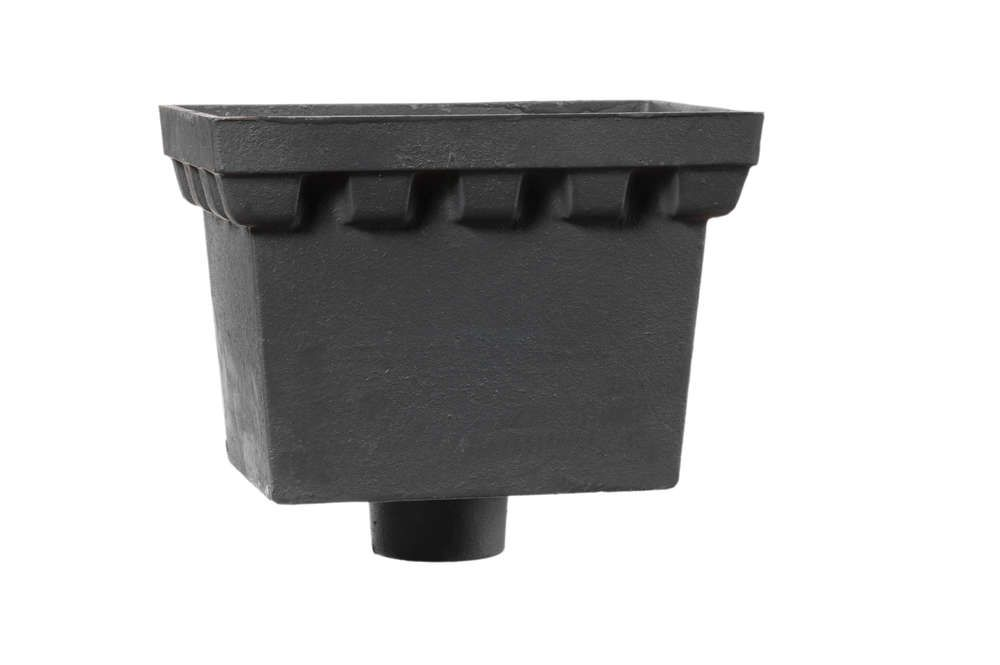 Cast Iron Rectangular Hopper Head Castellated Outlet - 225mm for 65mm Downpipe Primed