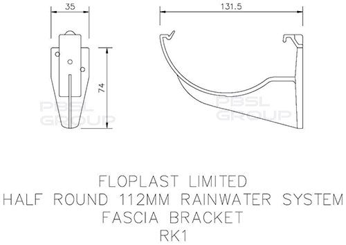 Half Round Gutter Fascia Bracket - 112mm Black