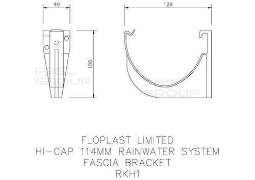 Deepflow/ Hi-Cap Gutter Fascia Bracket - 115mm x 75mm Cast Iron Effect