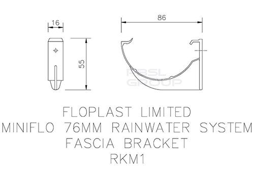 Mini Gutter Fascia Bracket - 76mm Brown