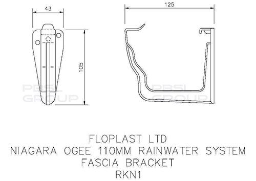 Ogee Gutter Fascia Bracket - 110mm x 80mm Anthracite Grey