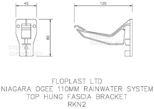 Ogee Gutter Top Hung Fascia Bracket - 110mm x 80mm Black