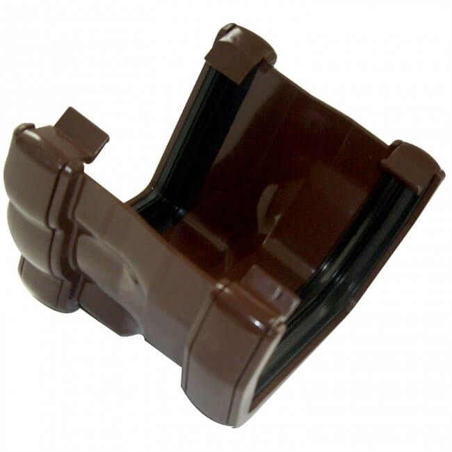 PVC Half Round to PVC Ogee Right Hand Gutter Adaptor - Brown - OUT OF STOCK