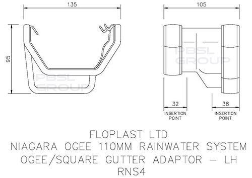 Square to Ogee Left Hand Gutter Adaptor - White