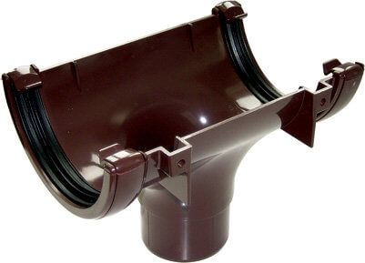 Half Round Gutter Running Outlet 112mm Brown