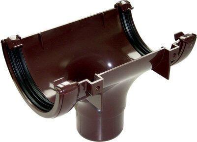 Half Round Gutter Running Outlet - 112mm Brown