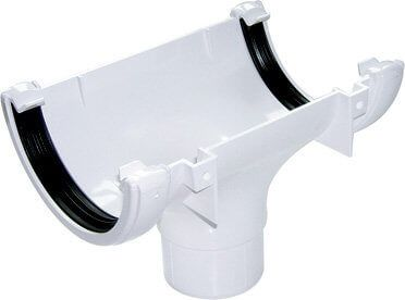 Half Round Gutter Running Outlet - 112mm White