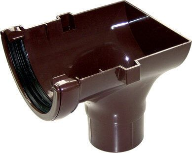 Half Round Gutter Stopend Outlet - 112mm Brown