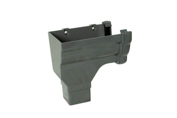 Ogee Gutter Stopend Outlet Left Hand - 110mm x 80mm Anthracite Grey