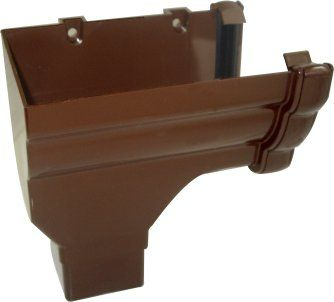Ogee Gutter Stopend Outlet Left Hand - 110mm x 80mm Brown