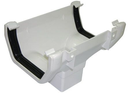Square Gutter Running Outlet - 114mm White