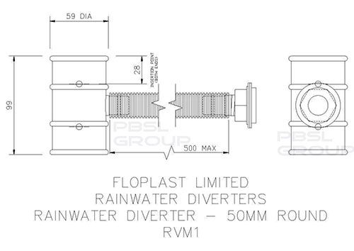 Mini Gutter Rain Diverter - 50mm White