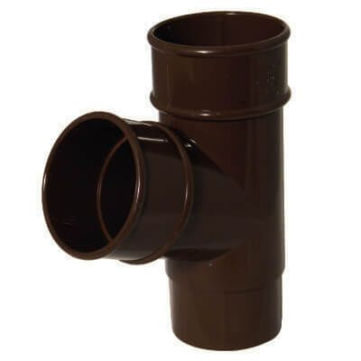 Round Downpipe Branch - 112 Degree x 68mm Brown