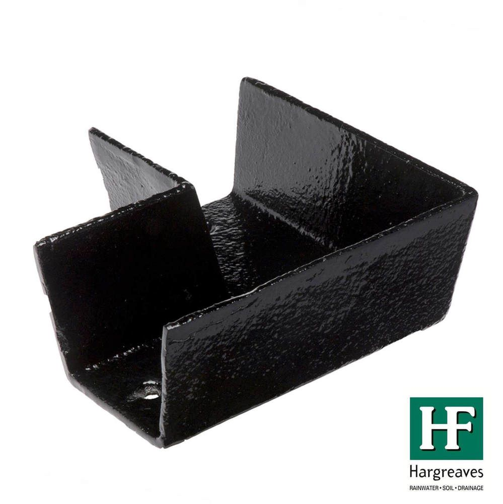 Cast Iron Box Gutter Angle - 90 Degree x 100mm Black