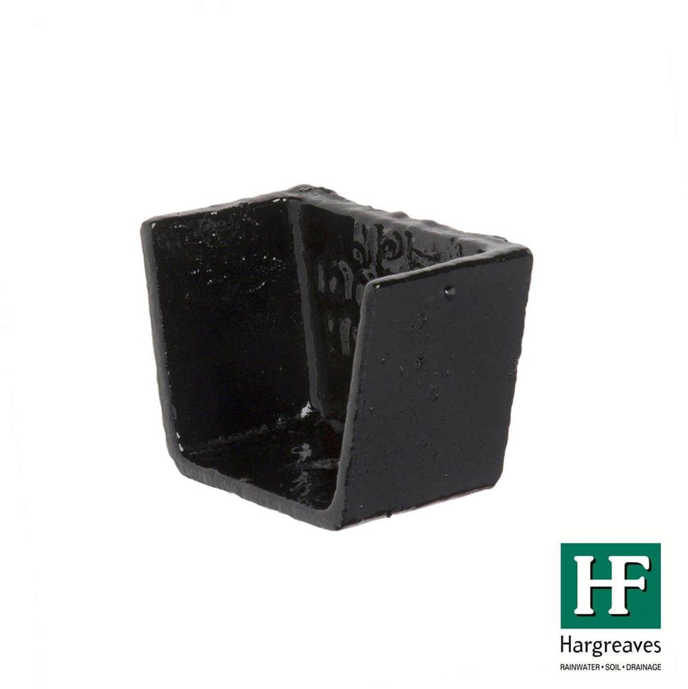 Cast Iron Box Gutter Stopend - 100mm Black