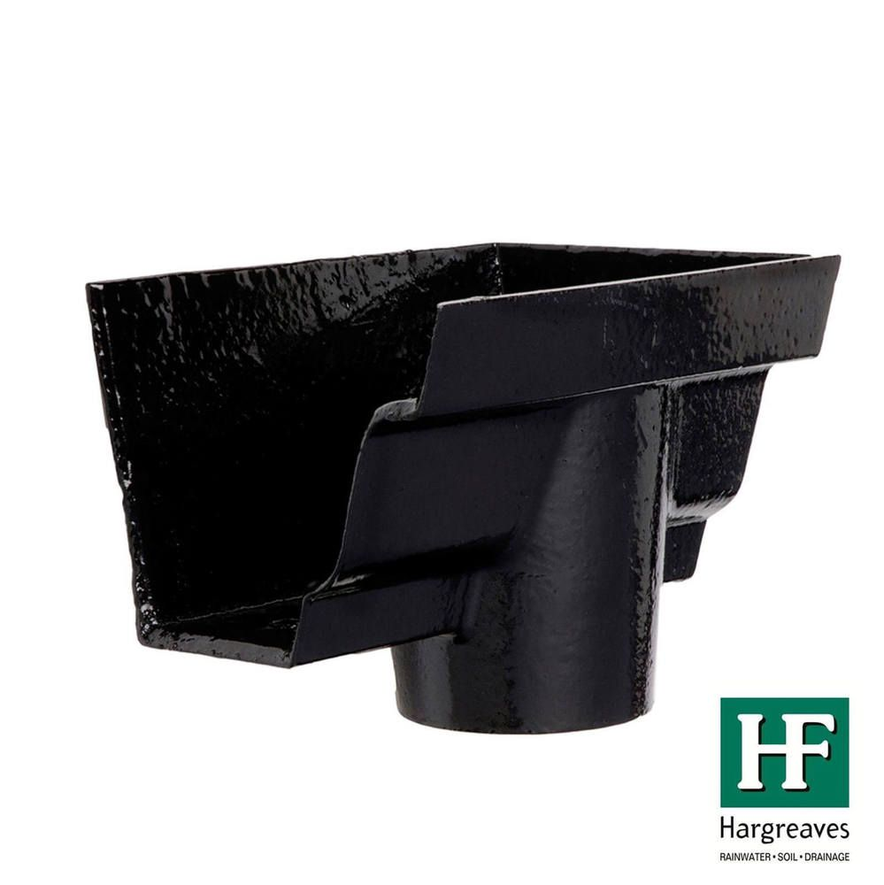Cast Iron Moulded Ogee Gutter Right Hand Stopend Outlet - 100mm for 75mm Downpipe Black