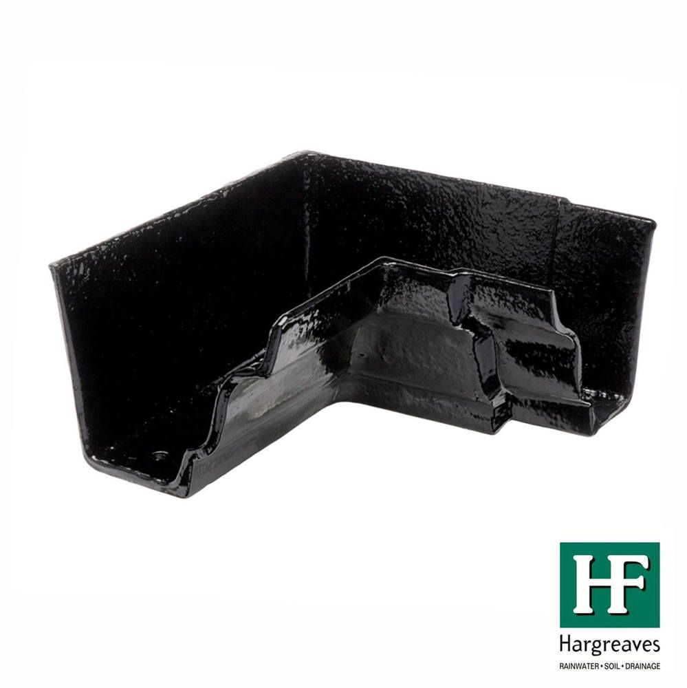 Cast Iron Moulded Ogee Gutter Internal Angle - 90 Degree x 125mm Black