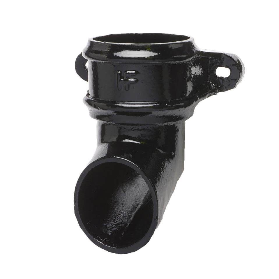 Cast Iron Round Downpipe Eared Shoe - 65mm Black