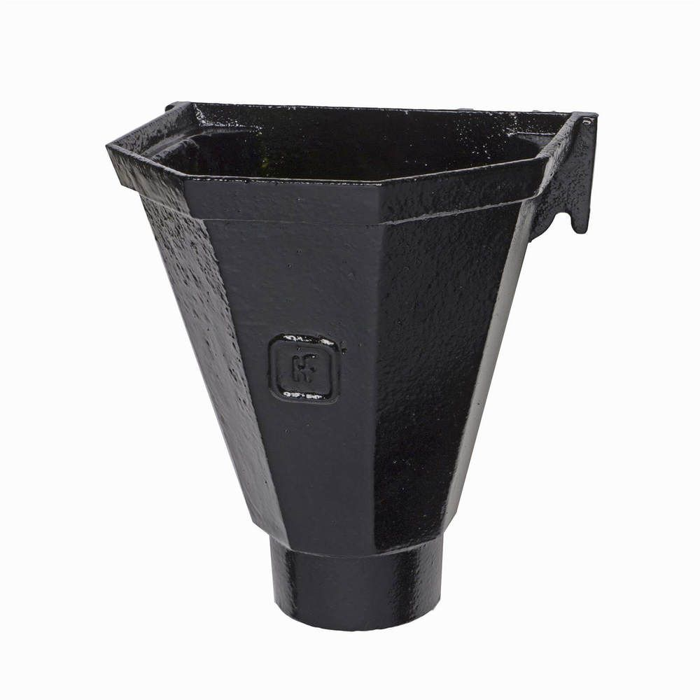 Cast Iron Round Downpipe Hopper Head Flat Back Outlet - 75mm Black - OUT OF STOCK