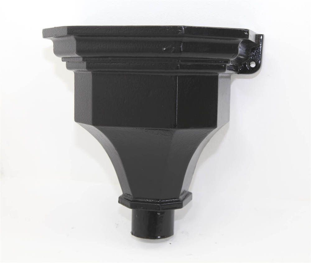 Cast Iron Round Downpipe Hopper Head Fluted Flanged Outlet - 65mm Black