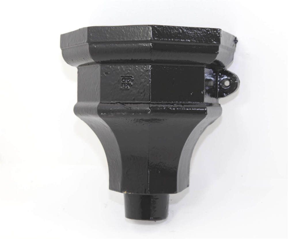 Cast Iron Round Downpipe Hopper Head Fluted Eared Outlet - 75mm Black