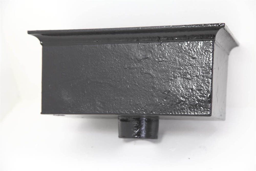 Cast Iron Rectangular Hopper Head Outlet - 355mm for 75mm Downpipe Black