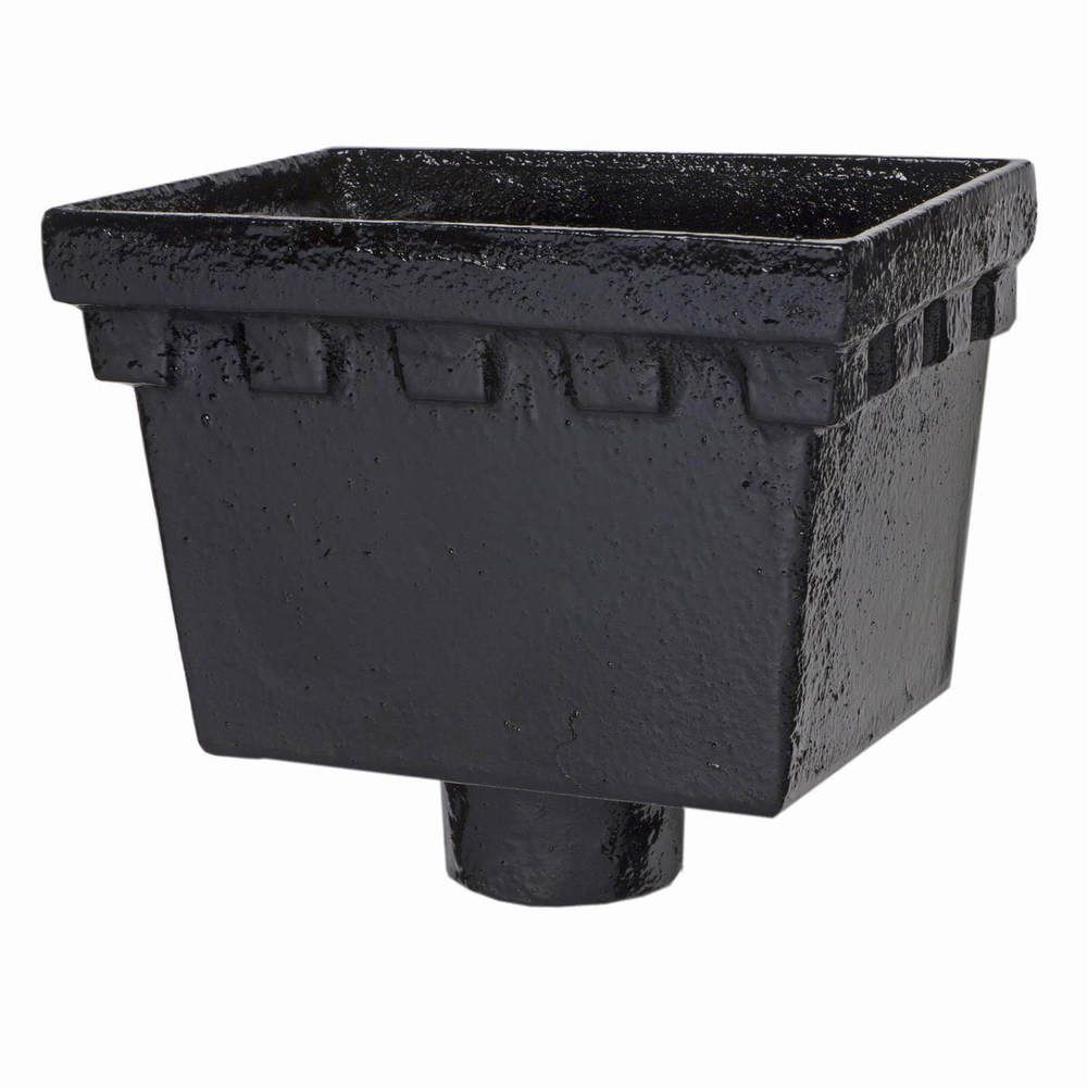 Cast Iron Rectangular Hopper Head Castellated Outlet - 255mm for 75mm Downpipe Black
