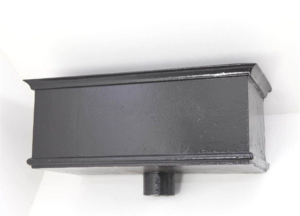 Cast Iron Rectangular Hopper Head Long Outlet - 482mm for 75mm Downpipe Black