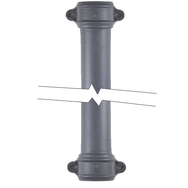 Cast Iron Round Eared Downpipe - Socket Both Ends - 65mm x 1829mm Primed - OUT OF STOCK