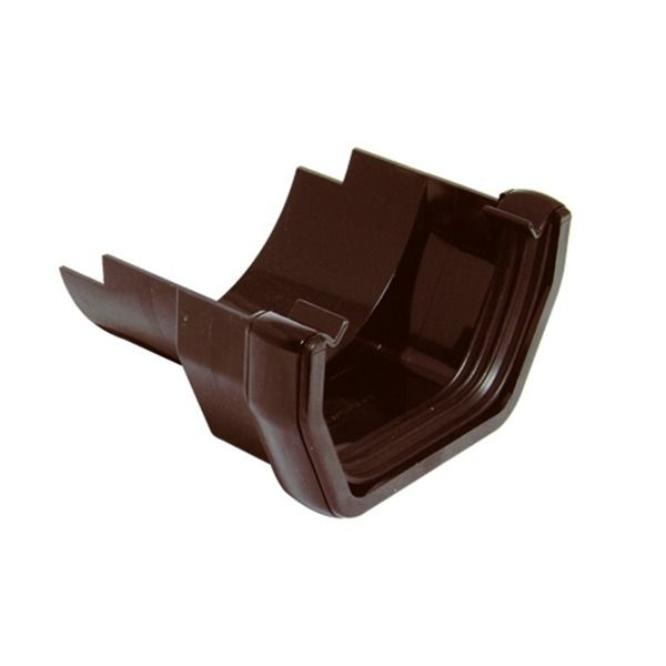 PVC Square to Cast Iron Half Round Gutter Adaptor - Brown