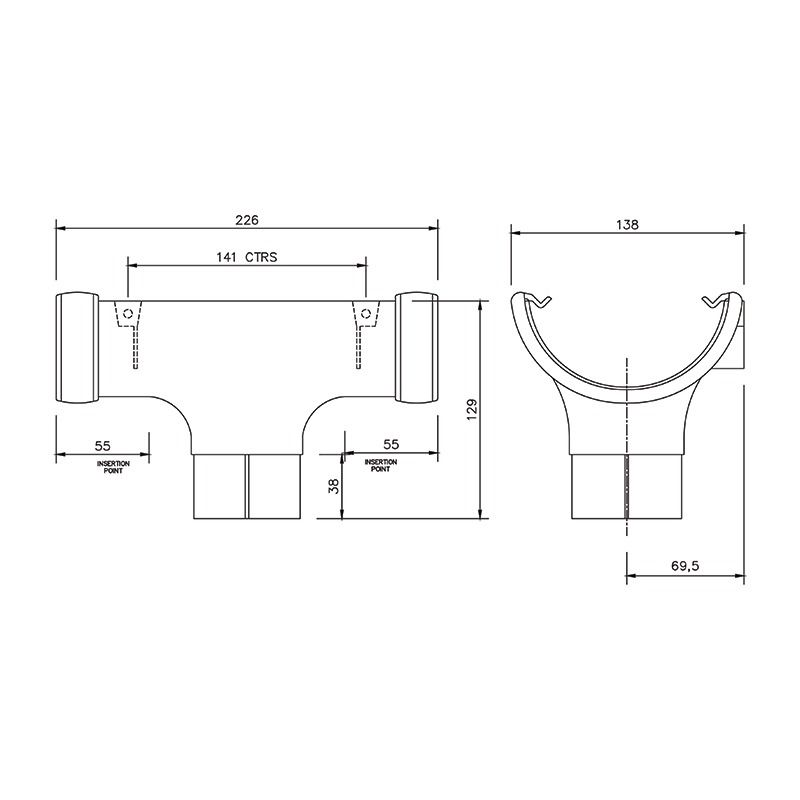 Half Round Gutter Running Outlet - 112mm Grey