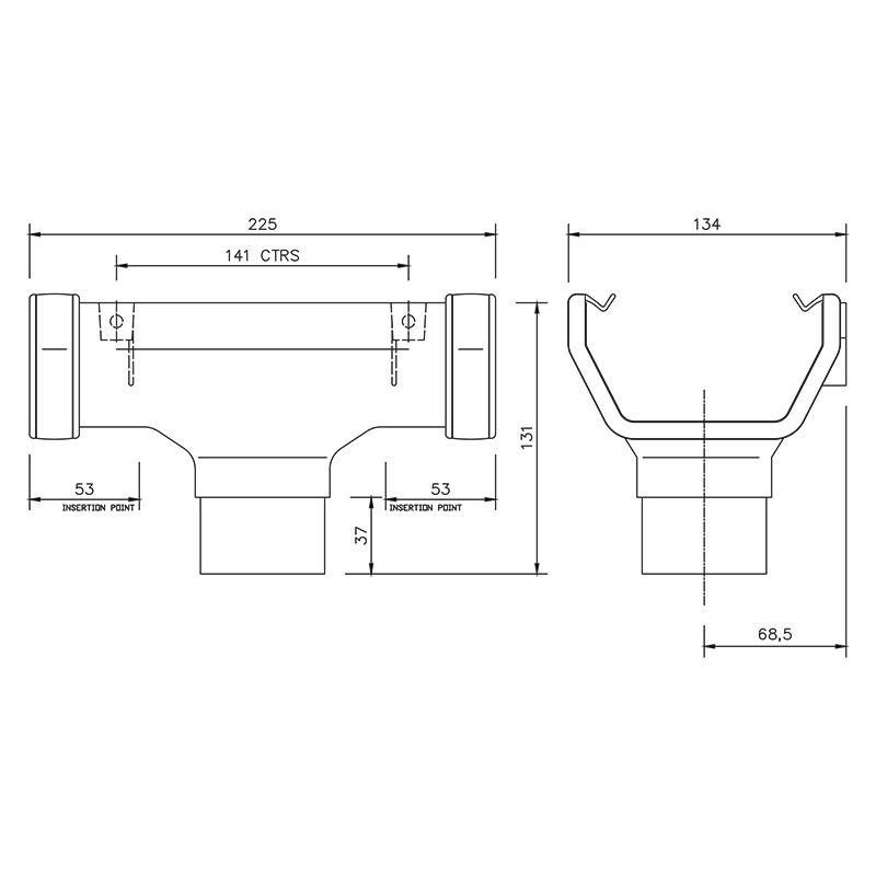 Square Gutter Running Outlet - 114mm Brown