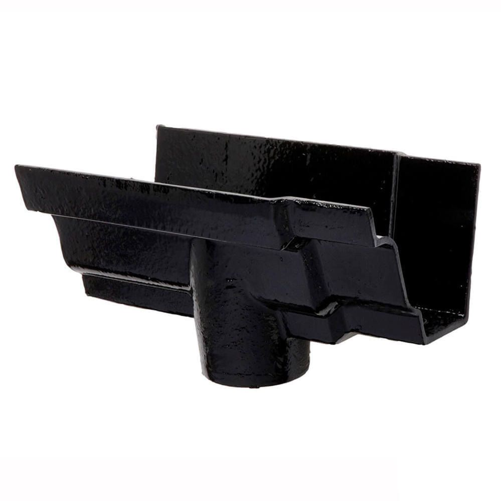 Cast Iron Moulded Ogee Gutter Running Outlet - 125mm for 100mm Downpipe Black