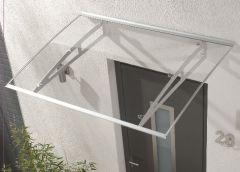 Dosello Canopy With Clear 3mm Solid Polycarbonate Glazing - 1400mm x 1000mm Aluminium Finish
