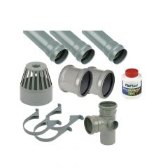 Ring Seal Soil Stack Complete Kit - 110mm Grey