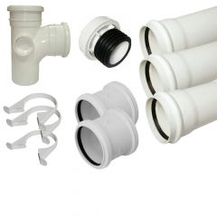Ring Seal Soil Stack Complete Kit - With External Air Valve - 110mm White