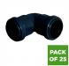 Push Fit Waste Bend Knuckle - 90 Degree x 32mm Black - Pack of 25