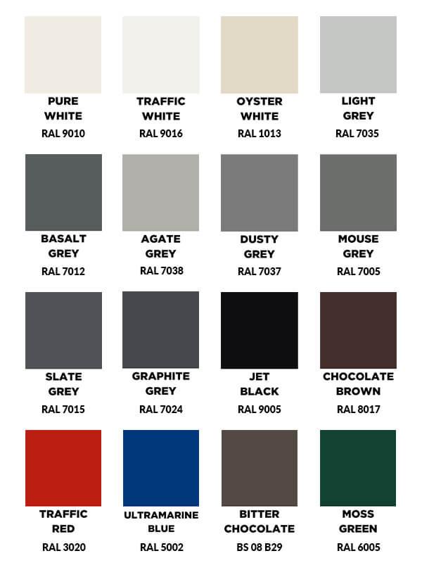 All Standard Aluminium Gutter Painted Colours