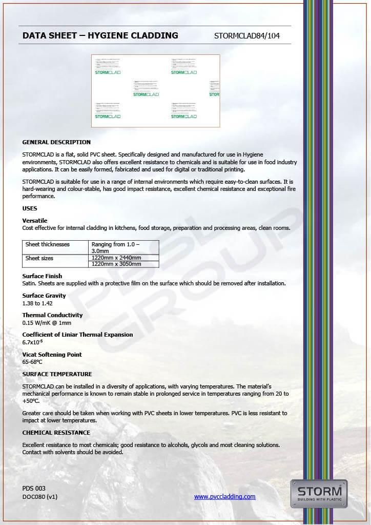 Food Grade Hygiene Cladding - Datasheet 1